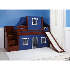 Curtains & top tents on loft beds & bunk beds are super fun, but they can also help kids fall & stay asleep! Kids bedroom makeovers - play beds that evolve. Safe Bunk Beds, Bunk Beds Boys, Bunk Beds With Stairs, Kid Beds, Bunk Bed Fort, Bunk Bed With Slide, Toddler Loft Beds, Low Loft Beds, Play Beds