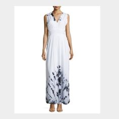 Tie Dye Open Back Maxi Dress Pleated tie dye woven maxi dress v neckline open back with self tie, sleeveless, wide shoulder coverage. Banded waist, smocked back. A line silhouette. Fully lined. White/black Neiman Marcus Dresses Maxi