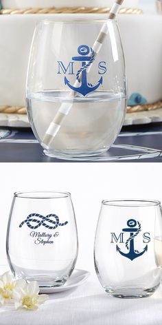 627b4d5df7 9 Ounce nautical wedding theme stemless wine glasses personalized with  choice of anchor design with initials