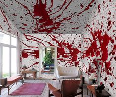 Style your home or office with wallpaper that screams bloody murder with this blood splatter wallpaper. This blood bath wallpaper features realistic blood splashed all over the design, giving your home or office a warm and cozy serial killer vibe.