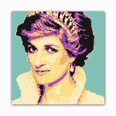 Princess 8 Bit Modern Printed on Ready to Hang Framed Stretched Canvas