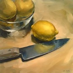 "Daily Paintworks - ""Fate of the Lemons"" by Michael Naples 8*8"