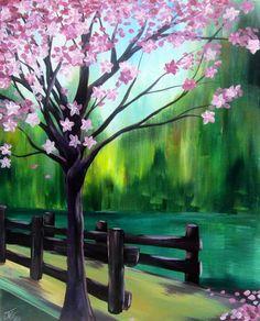 Magnolia tree painting with Bridge, beginner canvas painting.