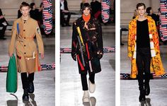 """The collection represents an exploration in new uses of texture. Overcoats and top wear show random-effect stitching, rainbow colored text, mixed with stitched-up sleeves and knitted patchwork designs decorated with various accessories and features. The designer outlines a thicker, bulkier silhouette around his pieces. When the range was first revealed, a proud Simon commented """"I really don't see this as my brand. I see this as our brand."""""""