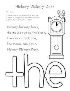 Hickory Dickory Dock (sight word : the)