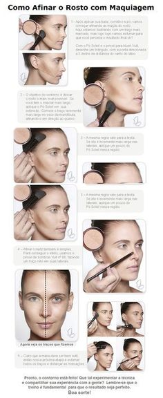 Tutoriel de maquillage : Description Como usar o Iluminador e Pó bronzeador – Tudo de Maquiagem Beauty Make-up, Make Beauty, Beauty Secrets, Beauty Care, Beauty Hacks, Mascara, Contour Makeup, Skin Makeup, Make Up Designs