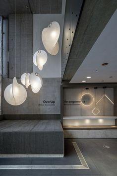 Flos introduces New Lighting Designs at Atrium in London Lamp Design, Lighting Design, Pendant Lamp, Pendant Lighting, Chandelier, Design Museum London, Atrium Design, Hotel Boutique, Basement Lighting