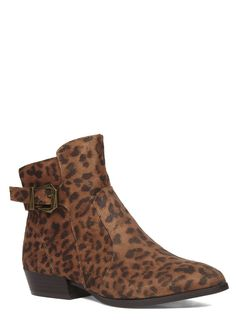 Evans Brown Leopard Print Pointed Ankle Boots