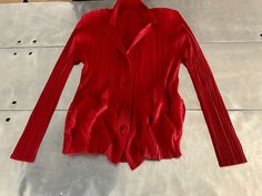 Issey Miyake pleats please jacket, long sleeves top, Issey miyake pattern shirt, Authentic Issey Miyake pleated polyester red top by NUKOBRANDS on Etsy https://www.etsy.com/listing/522779369/issey-miyake-pleats-please-jacket-long