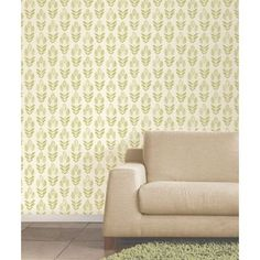 Fine Decor Blockprint Tulip Wallpaper - Green