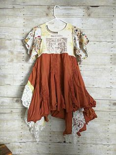 Pink Sunshine Shabby layered cowgirl upcycled knit floral