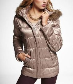 FUR-TRIMMED REMOVABLE HOOD PUFFER JACKET at Express