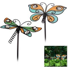 Fluttering Friends Garden Stakes - Set of 2 at The Animal Rescue Site