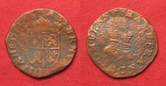1582 Belgien - Flandern FLANDERS Liard ND(1582) FRANCOIS OF ANJOU copper aVF RARE!!! # 92196 f.ss