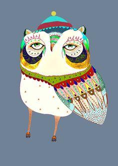 Kids Decor. Lovely Owl . Limited edition art by Ashley Percival. Decor. $40.00, via Etsy.