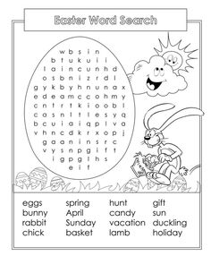 Printable Word Search for Kids   Activity Shelter Easter Puzzles, Easter Worksheets, 1st Grade Worksheets, Easter Printables, Library Activities, English Activities, Easter Activities, Summer Activities For Kids, Easter Coloring Pages