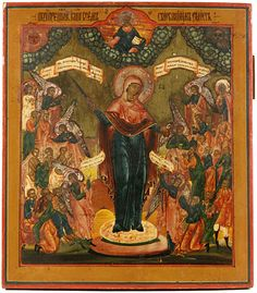 A RUSSIAN ICON OF MOTHER OF GOD JOY OF ALL THAT SORROW, MOSCOW SCHOOL, 19TH C.