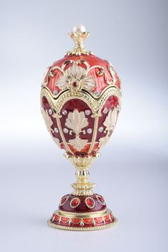 Music Playing Red Faberge Egg Trinket Box with a by KerenKopal