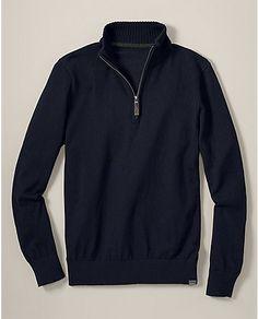 Eddie Bauer Sportsman Cotton/Cashmere Quarter-Zip Sweater $39.99