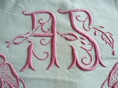 Pretty in pink, AS monogram from the 1930's. Sold by chatelaine-chic.