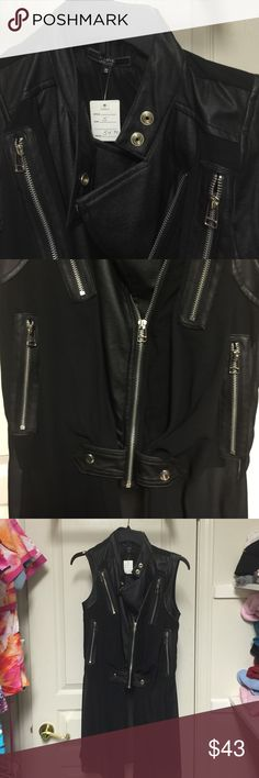 Black Label S Line leather w/zippers. Cool jacket Very cool jacket or vest bought at a boutique in Palm Springs. Haven't had the right opportunity to wear it. Sheer fabric with leather and zippers and snaps. It all very cool. Zipped up half zipped you could wear a pretty black bra or tank top! The sleeves are capped off in leather at the shoulder. This jacket rocks! S Line Tops Blouses