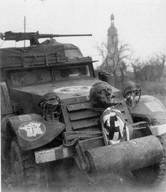 History Discover World war two: abandoned American armoured car with bust of Hitler Alsace France. Free In French Armored Vehicles Armored Car Man Of War World War One France German Army Alsace War Machine German Soldiers Ww2, German Army, Ww2 Pictures, Historical Pictures, Armored Vehicles, Armored Car, French Army, French Man, Man Of War