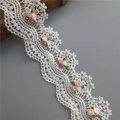 1a Soluble Coton Fleur Diamant Perle Brodé Tissu Dentelle Ruban BRICOLAGE À La Main À Coudre Craft Pour Costume Chapeau Décoration