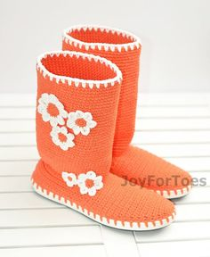 Crochet Boots Orange Spring Outdoor Boots Daisy Boots Woman Handmade Boots Made to Order