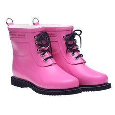 Lace Up Rainboot Short Pink, $135, now featured on Fab.