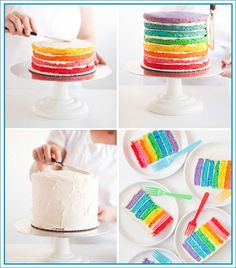 or how to assemble an ombre cake Ombre Cake, Rainbow Birthday, Birthday Cake, Colorful Cakes, Partys, Piece Of Cakes, Dessert Recipes, Desserts, Beautiful Cakes