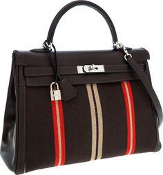 Hermes Limited Edition 35cm Ebene Swift Leather and Stripe Canvas Retourne Kelly Bag with Palladium Hardware
