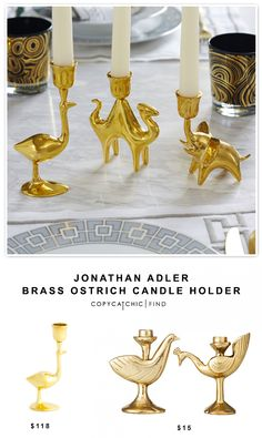 @jonathanadler Brass Ostrich Candle Holder $118 vs Target Nate Berkus Dove or Quail Tapered Candle Holder $15