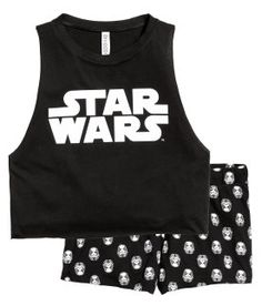 Pyjamas with top and shorts: Pyjamas in soft cotton jersey. Crop vest top with a print motif on the front and raw edges around the armholes and hem. Short, patterned shorts with an elasticated drawstring waist. Cute Pajama Sets, Cute Pjs, Cute Pajamas, Cute Lazy Outfits, Stylish Outfits, Pyjamas, Star Wars Disney, Cute Sleepwear, Pajama Outfits
