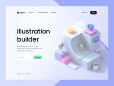 Bento – Illustration Builder Concept by Tran Mau Tri Tam ✪ Best Web Design, Web Design Trends, Make Design, Top Website Designs, Website Design Company, Header Design, Professional Web Design, Web Design Agency, Website Design Inspiration