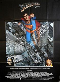 "Superman (1978)    ""The movie that makes a legend come to life.""...Absolutely beautiful large format original French Grande movie poster for Richard Donner's 1978 super hero actioner ""Superman"". Fantastic ""You'll Believe a Man Can Fly!"" imasgery that l Another one of my favs!"