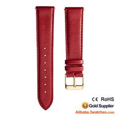 Red Genuine Leather Watches Strap 3W-S-L26, click picture to designs your own brand watch.