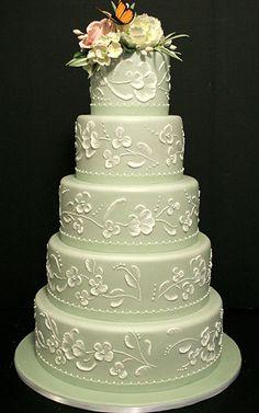 Sage Green Wedding Cake ~ Traditional theme and very pretty! ᘡղbᘠ