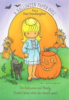 Joan Walsh Anglund Halloween paper doll. Would love to print these on magnetic paper!