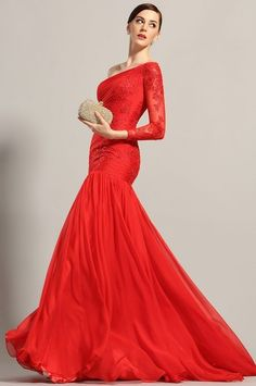 Červené šaty na jedno rameno s dlhým rukávom S01213 cb5a1845bcf