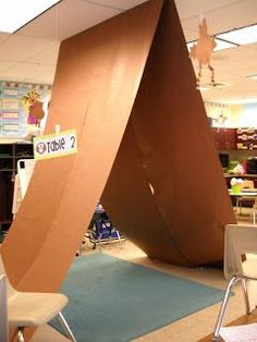 Create a tent using bulletin board paper---hang from ceiling ...