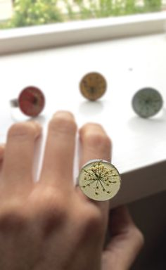 Flowers rings. Beautiful spring collection. Resin
