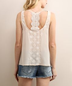 Loving this Mist Lace-Back Tank on #zulily! #zulilyfinds