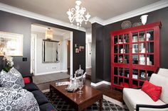 Shimon- Cuthbert Residence - contemporary - living room - black, grey and RED