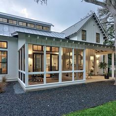 Love this part screened in, part open back porch...  Modern Farmhouse