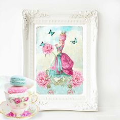 Marie Antoinette print pink hair French country decor A4