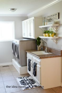 Laundry room update with links to several DIY tutorials via Amy Huntley (The Idea Room)