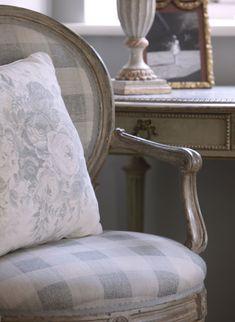 Blue Check Chair, Blue Roses Cushion - Kate Forman