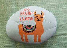 Llama rock painting by Rebeca Page