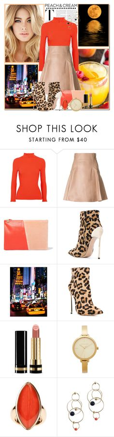 """""""She's a Peach: Peach Lipstick_Happy Hour Style"""" by msmith801 ❤ liked on Polyvore featuring beauty, Ganni, Alexander McQueen, Clare V., Casadei, Gucci, Michael Kors, Vhernier, Zimmermann and peachlipstick"""
