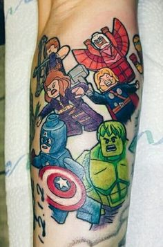 Marvel and Lego team up! - Marvel Tattoos That'll Make You Want to Be a Superhero - Photos Lego Tattoo, Avengers Tattoo, Marvel Tattoos, Sharpie Paint Markers, Body Craft, Lego Craft, Book Tattoo, Lego Marvel, Marvel Avengers